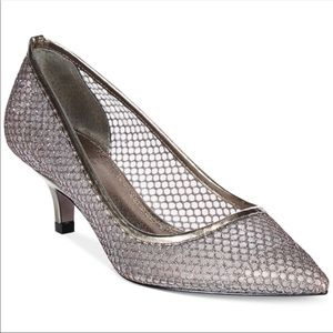 NWOT Adrianna Papell glitter mesh formal pumps